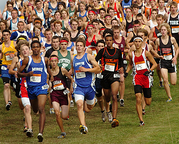 The boys' 5K run gets underway at the 2008 Maine Cross Country Festival of Champions at Troy Howard Middle School in Belfast on Saturday, Oct. 4, 2008. Scarborough was the top-ranking team in both the boys and girls divisions. Buy Photo