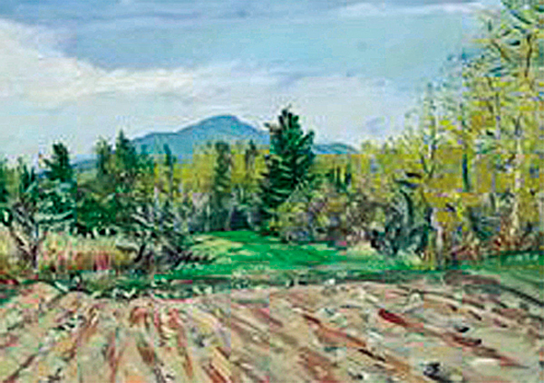 1. &quotMt. Chase,&quot David Little 2006. Oil on canvas, 18-by-24. Little lives Portland but has painted in locations all over northern Penobscot and southern Aroostook counties. He was introduced to this spot, on Happy Corner Road in Patten, by fellow artist Chris Huntington, whose work also appears in &quotUpcountry.&quot This is a view of the mountain looking north. &quotOne thing that's really beautiful is the difference in looking at Mount Chase from Patten and then from the Shin Pond side,&quot Little said. &quotI like the open space [in this view], and the way the mountain appears.&quot Directions: Traveling north on Route 11, Happy Corner Road is a left turn. To hike Mount Chase, travel Route 11 about 6.2 miles north of the intersection of Routes 11 and 159 in Patten. Turn left on Mountain Road, which is a rough private road, and travel 2.1 miles to a parking area. Rated a moderate hike.