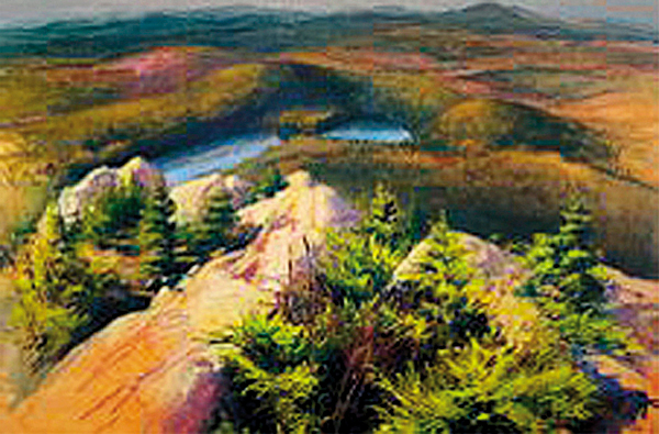 2. &quotBorestone, Looking North in October,&quot Nina Jerome 2007. Oil on canvas, 48-by-72. Jerome of Bangor has made just four visits to Borestone, but she has been able to get something different from each trip. Two of those trips have been through the Maine Audubon Society, which maintains the mountain as a sanctuary. This painting came out of photographs and her own memory of her first hike up the mountain in late October 2006. &quotIt's not just one thing,&quot she said of her interest in the area. &quotIt's the woods, it's the ponds, it's the hike up Borestone, it's the hike up Peregrine Trail. Each one provides a really distinct experience. What I've learned is I can't go up there with expectations.&quot Directions: Drive north on Route 15 half a mile from Monson. Turn right on Elliotsville Road. Drive 7.3 miles to Big Wilson Stream, cross the bridge and turn left. Cross the railroad tracks and the trailhead will be on the right. Rated a moderate hike.