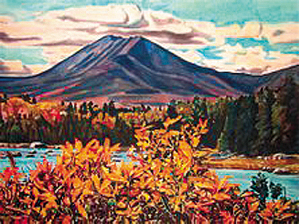 4. &quotFall Fire at Rocky Pond,&quot Michael Vermette 2008. Watercolor, 20-by-26. Vermette, who lives on Indian Island, has 20 years of experience painting the ponds and lakes around Mount Katahdin. He was inspired to go to Katahdin by the work of 20th century artist James Fitzgerald, who lived on Monhegan Island and traveled north to paint the mountain. &quotI love [the spot], because you have car-sized boulders that take on the shape of the mountain and repeat themselves in the water,&quot Vermette said. &quotThis particular painting has a huge bush that was just aglow, like fire, with leaves.&quot Directions: Vermette's instructions are to start at Avalanche Field, on Roaring Brook Road in Baxter State Park, and hike about 3.5 miles to Katahdin Lake Wilderness Camps, which are privately owned. Follow Katahdin Brook to Rocky Pond, which is the next pond down. Vermette paddles that stretch in a canoe, but he said you can hike to Rocky Pond, too.