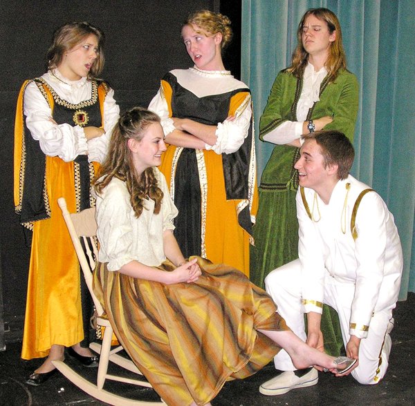 Performers in the Brewer Youth Theatre production of &quotCinderella&quot Oct. 17-18 and 23-25 at Brewer Middle School include (front row) Tess McLaughlin and Jamie Bartol; (back row) Erika Cote, Kate Weigel and Erin Mills.