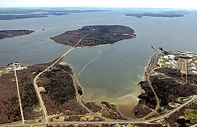 A causeway bends to the right, connecting the mainland in Searsport to 941-acre Sears Island in Searsport on Penobscot Bay. Buy Photo