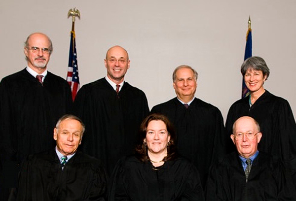 Members of The Maine Supreme Judicial Court  (back L - R) Hon. Andrew M. Mead, Hon. Jon D. Levy, Hon. Warren M. Sil-ver and Hon. Ellen A. Gorman; (front L – R) Hon. Robert W. Clifford, Hon. Leigh I. Saufley and Hon. Donald G. Alexan-der.