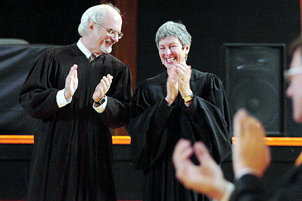 Maine Supreme Judicial Court justices Andrew M. Mead and Ellen A. Gorman applaud the appointment of a new attorney Teresa E. Sears of Robbinston on Thursday, Oct. 30, 2008, who was the first lawyer to be appointed in Washington County in 40 years. Buy Photo