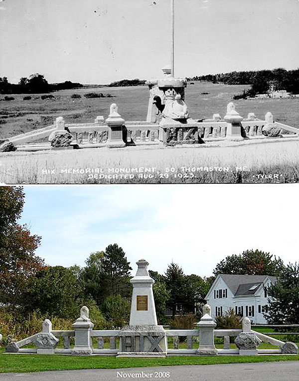 Hix Memorial photos before and after the 2008 restoration by the Wessaweskeag Historical Society in South Thomaston.