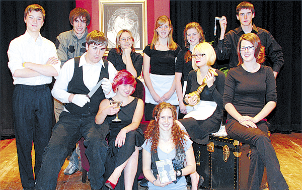John Bapst Memorial High School students who are cast members of &quotActing Can be Murder,&quot a play being performed Friday and Saturday Nov 7-8, at the school auditorium, are (back row from left) Brandon Blustajn, Alexander Duplessie, Christine Pegg, Jacquelyn Doughertyy, Lauren Davis and Michael Keim; (front row) Dale Provencher, Anastasia Gallant, Rebecca Hanks, Allison Emery and Lydia Horne.  Also in the cast is Kurt Eyerer.  Tickets are $3.