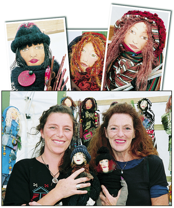 "Kate Barnes (left) and her mother, Susan Barnes, make dolls that they call ""Travelers"" (above). The handmade creations sell for $70-80 each."