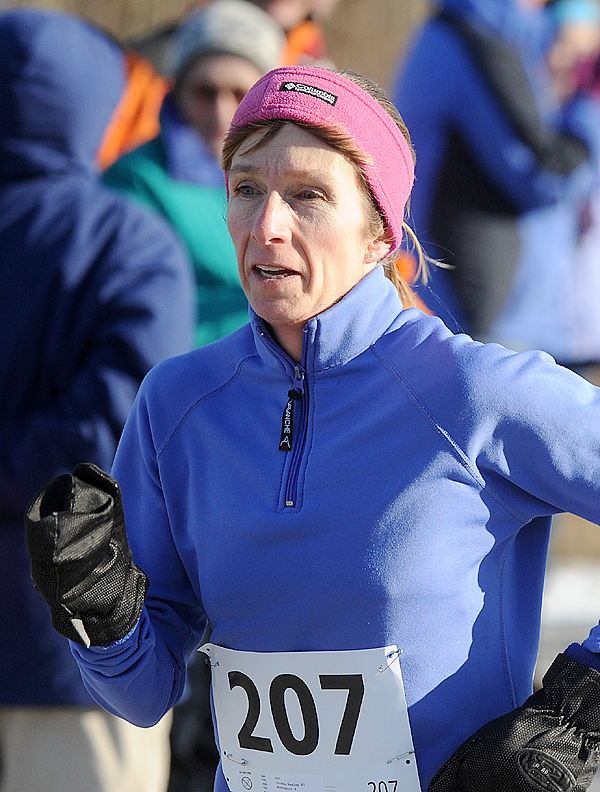 Jo-Ann Nealey was the first woman finisher of the 2008 Turkey Trott in Brewer on Sunday.