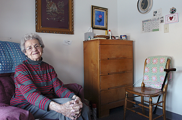 Rolande Saucier sits in her room at The Meadows in Orono on Monday.  Buy Photo