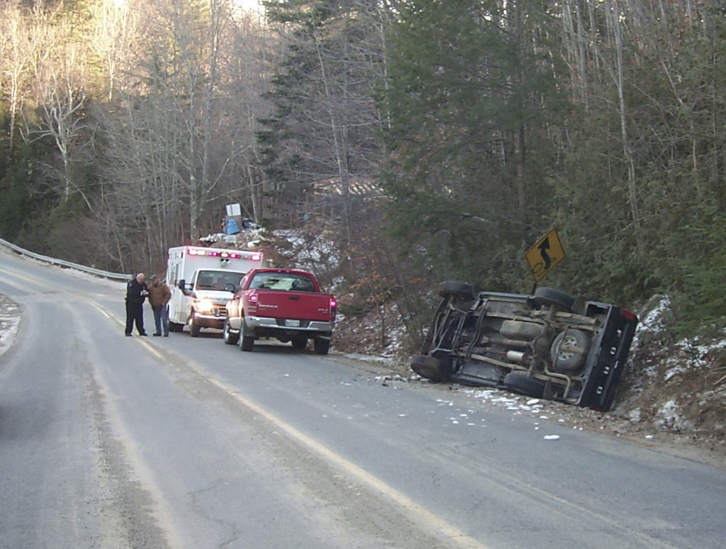 David Newton, 19, of Swanville was taken by ambulance to Waldo County General Hospital with a head cut after rolling his Ford pickup truck on High Street in Belfast on Saturday afternoon. Patrolman Eric Kelly said Newton struck a patch of ice and skidded out of control on a curve at approximately 2:15 p.m. His injuries were not believed to be life-threatening, Kelly said.