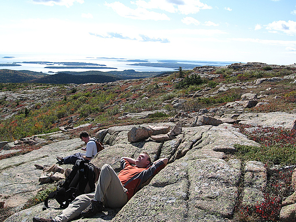 Friends Sonny Whittaker (left) and Scott Fisher enjoy a rest break in October near the South Ridge Trail on Cadillac Mountain. Photos of friends on hikes connect you to the day they were taken.