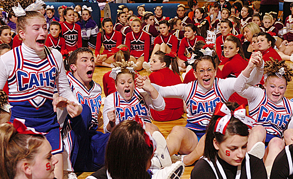 The Central Aroostook High School Panthers react as their name is called for first place in the Class D State Championship at Bangor Auditorium on Saturday, Feb. 7, 2009. The Panthers won the state title with 118.5 points.  Buy Photo