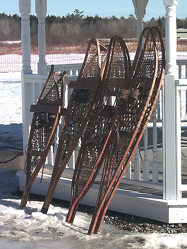 Antique snowshoes owned by Lyndon Pendleton were on display at Saturday's WinterFest at the Owls Head Transportation Museum.  Buy Photo