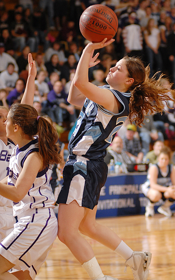 Presque Isle's Kayla Richards goes up for a shot in the second half of the girls Class B semifinal game  Wednesday.