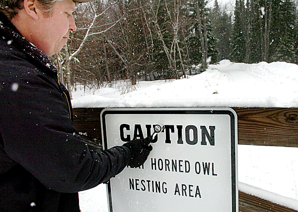 Brian Dugas, Bangor city forester, affixes a sign to the Kittredge Road entrance of the Rolland F. Perry City Forest on Friday, March 6, 2009 warning users of great horned owls which have been attacking users of the forest for the last month. While most of the attacks have been at dusk or later in the day, Dugas said, &quotIf you hear a limb crack behind you, you may want to put your arms up,&quot as most of the attacks have been from behind and to the head area. The owls have even targeted people's dogs. Buy Photo