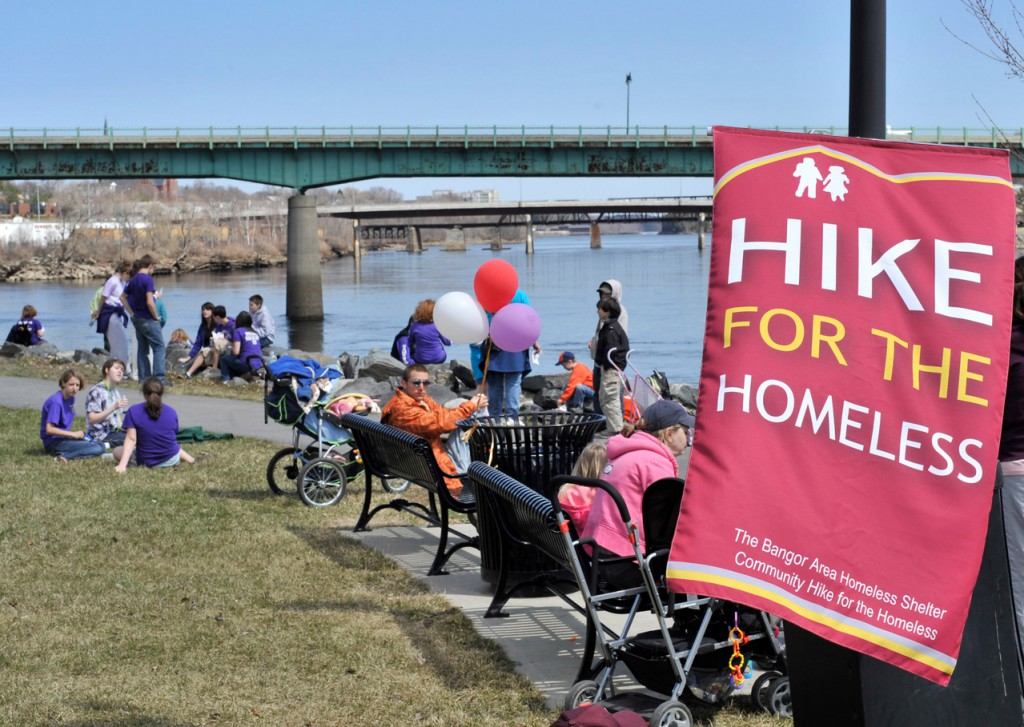 Volunteers from Veazie , Bangor, Brewer, Hampden and other surrounding communities converged by foot on the Bangor waterfront to raise money for the Bangor Area Homeless Shelter on Saturday.