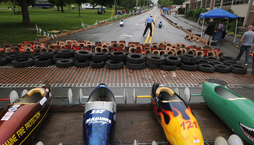 About 40 competitors participated in the 14th annual Eastern Maine Soap Box Derby in Bagnor on Saturday, ranging in age from eight to 17 years old. The competitors of the three categories came from across the state to compare skills, and the winners of the divisions will go on to represent Maine in the All-American Soap Box Derby in Akron, Ohio.