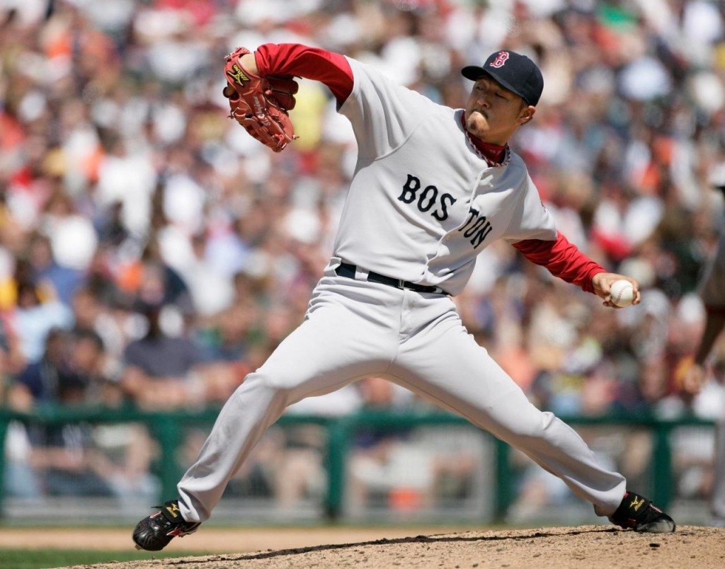Boston Red Sox pitcher Hideki Okajima, of Japan, delivers against the Detroit Tigers in the eighth inning of a baseball game Thursday in Detroit. The Red Sox beat the Tigers 6-3.