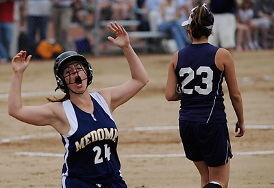 Medomak Valley's Rachel Keefe react to a foul call as she crosses first base in fifth inning of their state Class B softball championship against Fryeburg Academy at St. Joseph College in Standish, Maine Saturday morning, June 20, 2009. Fryburg Academy won 2-1.  Buy Photo