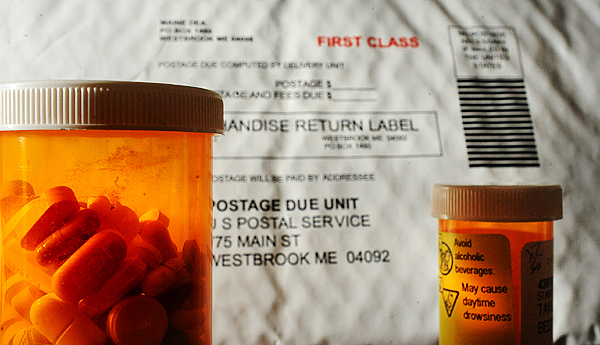 The envelope in the photo is used in the mail-in drug disposal program that aimes to collect unused medications for proper disposal.   (Bangor Daily News/Gabor Degre)