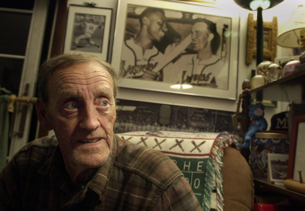 ELLSWORTH, ME -- OCTOBER 22, 2003 -- Ex major league pitcher, Carlton Willey, watches the third game of the world series Tuesday night, rooting for the Florida Marlins. &quotSince I was a little boy I've liked the Yankees, but when they play a national league team, I like that team to win,&quot said Willey, who pitched for the Braves and Mets during his baseball career from 1958 - 1967. Carlton Willey made it to the World Series in his rookie year with the Braves and pitched one inning against the Yankees.  &quotLots of times I wake up at night and it all seems like a dream.&quot Linda Coan O'Kresik