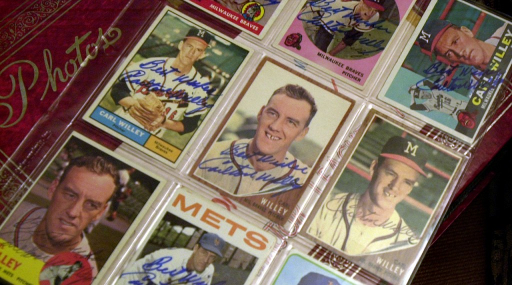 Some of the many baseball cards of Carlton Willey throughout his baseball career. (Bangor Daily News Photo by Linda Coan O'Kresik)