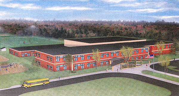 SAD 32's proposed new school, shown in this design, would have 84,000 square feet and hosue 350 students from kindergarten through grade 12. (DESIGN COURTESY OF SAD 32)