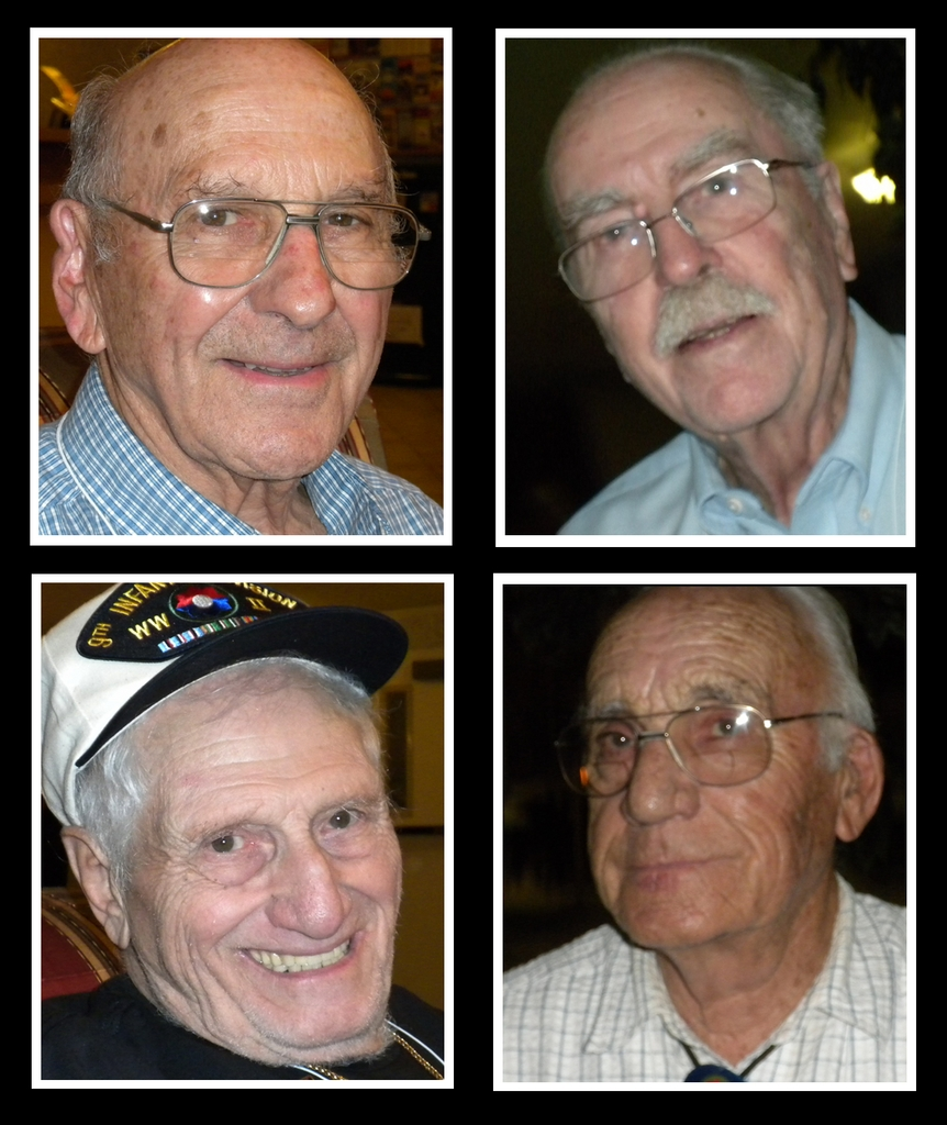 Paul Schumacher (top left, clockwise), Bill Robey, Charles Illsley and Wilbert Goldsmith were a part of the 9th Infantry Division in World War II and attended their 64th annual reunion over the weekend.