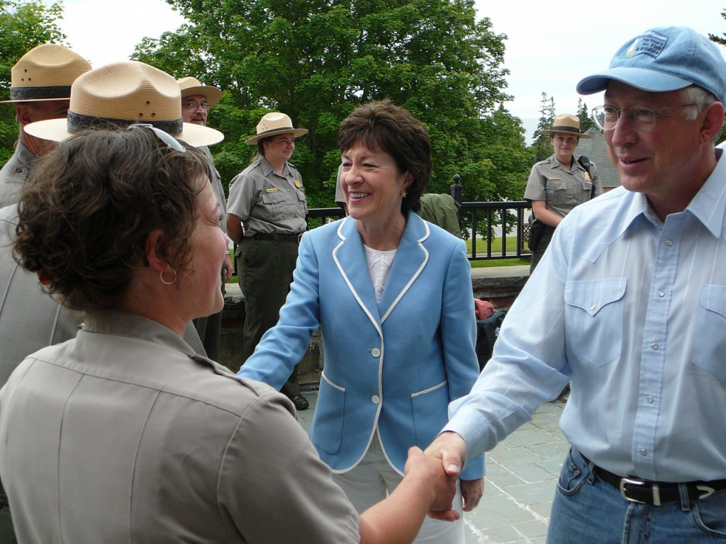 U.S. Sen. Susan Collins and Secretary of the Interior Ken Salazar meet with National Park Service employees at the Schoodic Education and Research Center on Saturday morning, July 25, 2009.