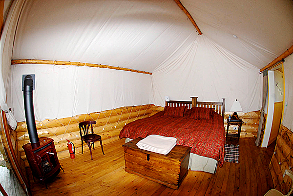 Accomodations at the Lodge on Upper Lake Labarge may appear rustic, but it's all about comfort once you step inside (Julia Bayly photo)