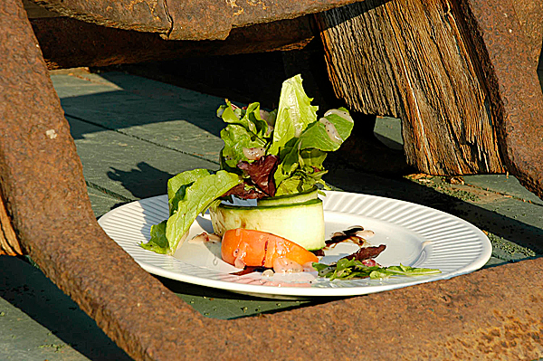 Wilderness living and gourmet dining go hand in hand in the Yukon with creations like this salad of fresh greens and seared halibut compliments of Chef Carl Pearce of Great River Journey. (Julia Bayly photos)