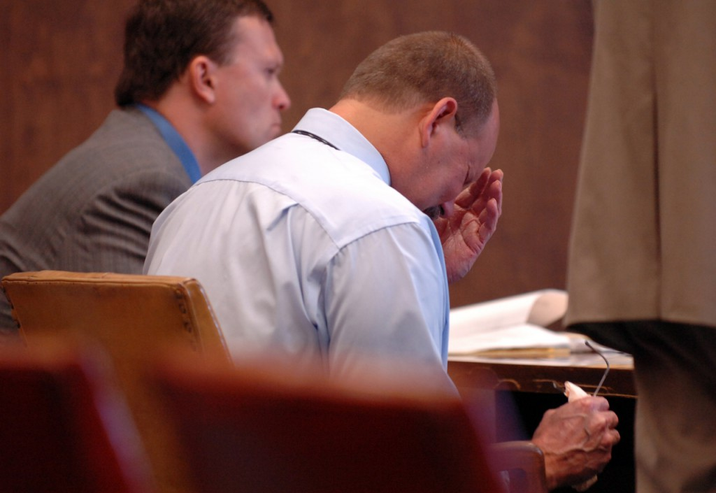 Joseph Dumas, 50, reacts during his sentencing Tuesday, August 11, 2009 at Penobscot County Superior Court in Bangor where Justice Michaela Murphy sentenced him to 30 years in prison for the murder of Mario &quotSonny&quot Litterio, 70, of Prentiss. (Bangor Daily News/Bridget Brown)