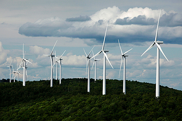 A cluster of windmills catches the wind blowing on Stetson Mountain in Township 8, Range 3 recently.