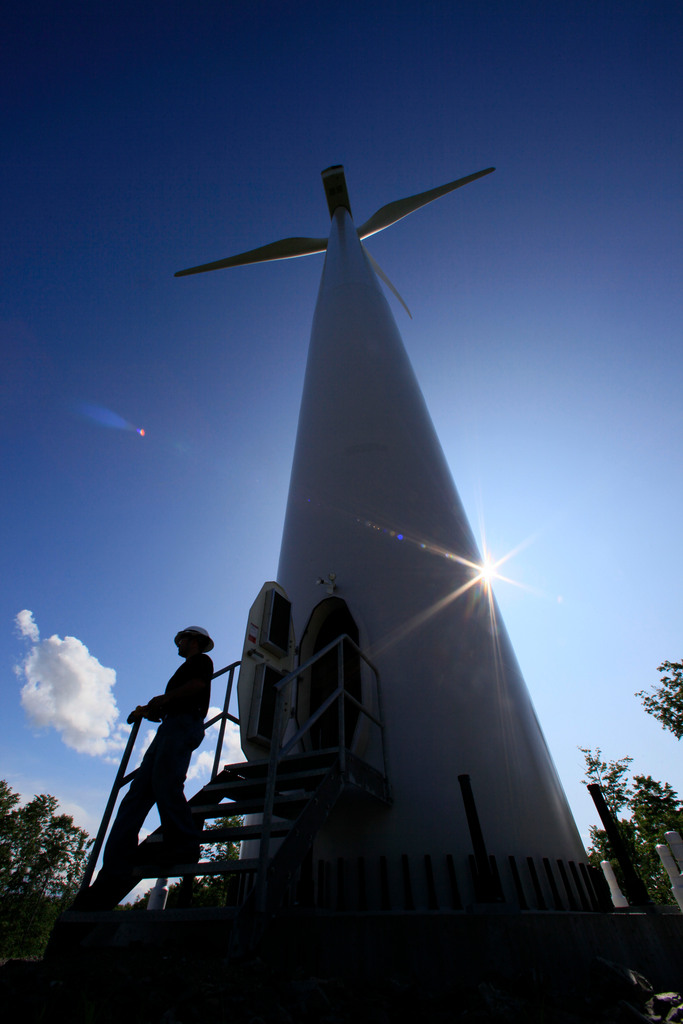 Andy Doak, assistant operations manager of the Stetson Mountain wind project, exits a 300-foot-tall windmill after making a monthly inspection in Township 8, Range 3 recently.