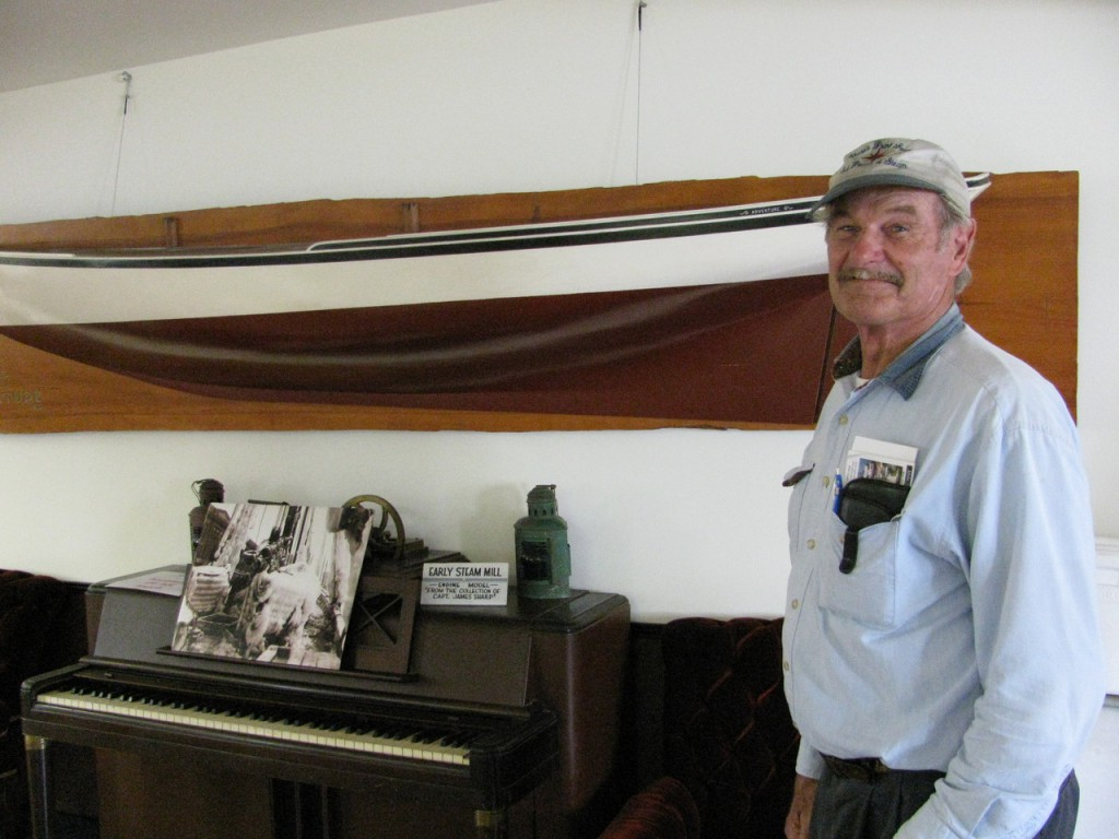Capt. Jim Sharp shows off a model of the hull of his old schooner Adventure at the Sail, Power & Steam Museum at Sharp's Point South in Rockland. The new museum is a labor of love for the retired sea captain, 75. Buy Photo