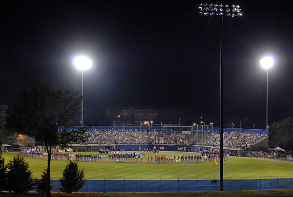 Mansfield Stadium was the site of the opening ceremony for the 2009 Senior League World Series, Saturday, August 14, 2009, Bangor, Maine.