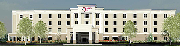 An architectural photo depicts what the new 93-room Hampton Inn Presque Isle will look like. The Main Street hotle is expected to open on July 31. (PHOTO COURTESY OF HAMPTON INN)
