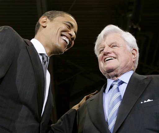 FILE - In this Jan. 28, 2008 file photo, then-Democratic presidential hopeful Sen. Barack Obama, D-Ill., smiles with Sen. Edward M. Kennedy, D-Mass., during a rally at American University in Washington where Kennedy endorsed Obama. Kennedy, the liberal lion of the Senate, has died after battling a brain tumor. He was 77.  Kennedy's family announced his death in a brief statement released early Wednesday, Aug. 26, 2009. (AP Photo/Charles Rex Arbogast, File)