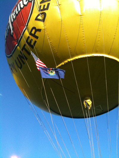 The balloon of Team USA III co-piloted by Presque Isle native Samuel Canders is inflated in preparation for a Saturday evening launch at the Gordon Bennett Gas Power Balloon Race in Geneva, Switzerland.