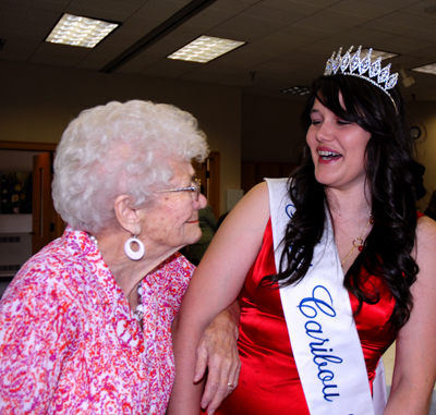 Miss Caribou 2009 Danielle Lane shares a laugh with the city's first Miss Caribou Helen Barnes who won the title in 1935. On Saturday 27 former Miss Caribou's gathered for a tea in their honor as part of the city's 150th celebrations. Buy Photo
