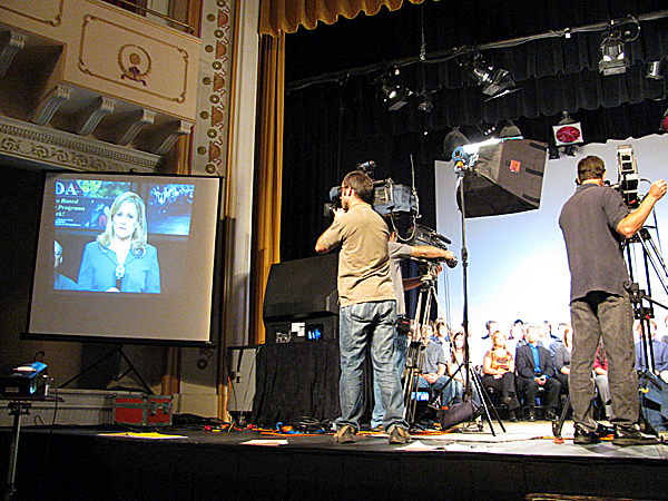 CAMDEN -- Local attendees at Wednesday morning's 'virtual' town hall presentation at the Camden Opera House spoke with national drug czar R. Gil Kerlikowske and other leaders via a satellite feed to the National Press Club in Washington, D.C. (Bangor Daily News/Abigail Curtis)