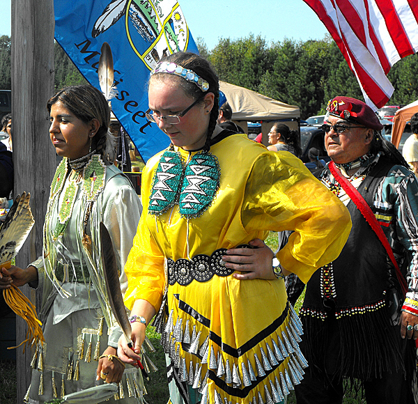 Native Americans dressed in traditional attire on Saturday to celebrate the Houlton Band of Maliseet Indians 29th annual Recognition Day Celebration. The day-long event took place on tribal grounds off the Bell Road, and a traditional supper was held in the tribe?s gymnasium late Saturday evening. The Houlton Band of Maliseet Indians has been federally recognized as a government by the U.S. since October 1980. (BANGOR DAILY NEWS PHOTO BY JEN LYNDS)