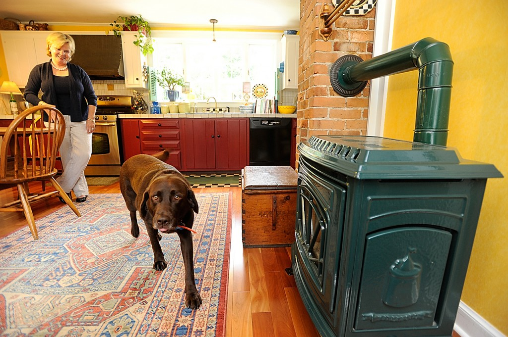 Ellen Flagg watches her chocolate Lab, &quotNebbie&quot greet the photographer in the kitchen of the Flagg's 160-year-old farm house. Ellen and Bruce Flagg's home is on this year's EMMC kitchen tour on September 26 from 1-4 p.m. to benefit Eastern Maine Medical Center. Photographed September 13, 2009. (Bangor Daily News/ John Clarke Russ)