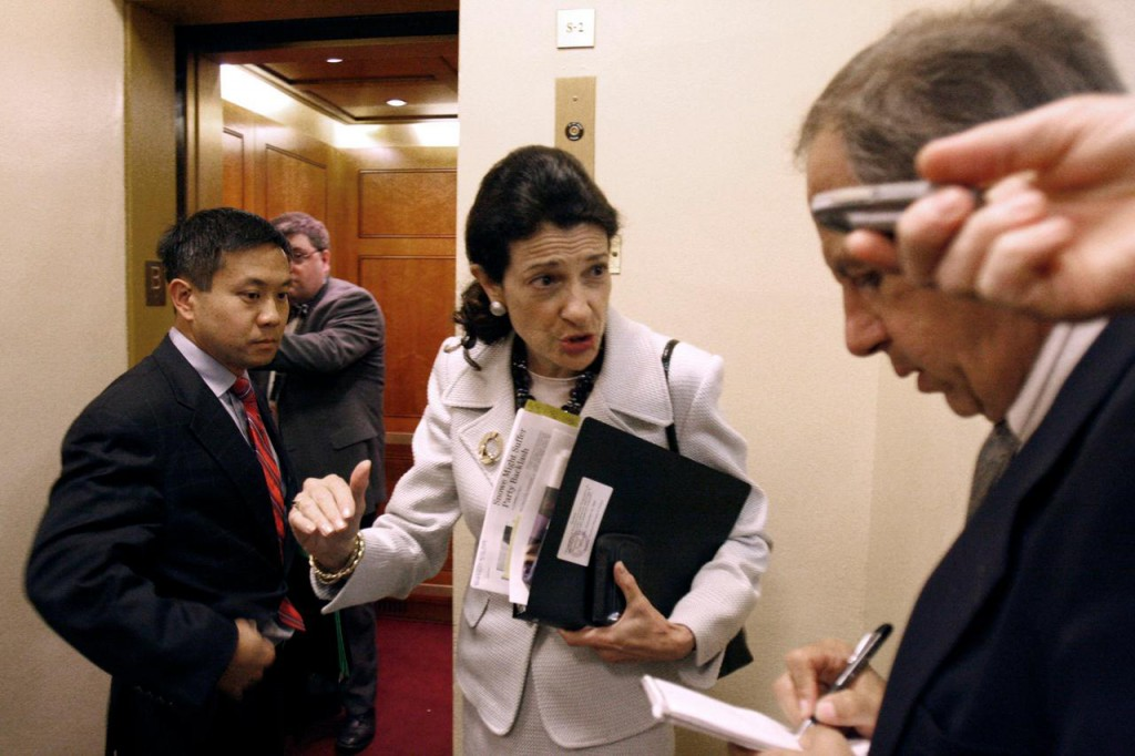 Sen. Olympia Snowe, R-Maine talks to reporters on Capitol Hill in Washington, Wednesday, Sept. 16, 2009. (AP Photo/Harry Hamburg)