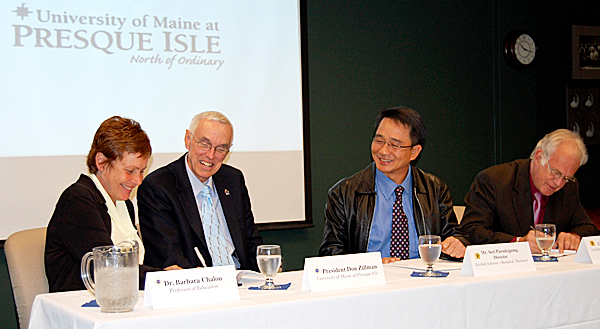 Officials from the University of Maine at Presque Isle and the Lertlah Schools in Thailand participate in an agreement signing ceremony on Friday. The agreement will allow UMPI education students to complete their student teaching requirement in Thailand. Taking part in the signing are, from left, Dr. Barb Chalou, UMPI professor of education; President Don Zillman; Archarn Seri Parndejpong, director of Lertlah Schools; and Gary Smith, assistant director of Lertlah Schools. (PHOTO COURTESY OF THE UNIVERSITY OF MAINE AT PRESQUE ISLE)