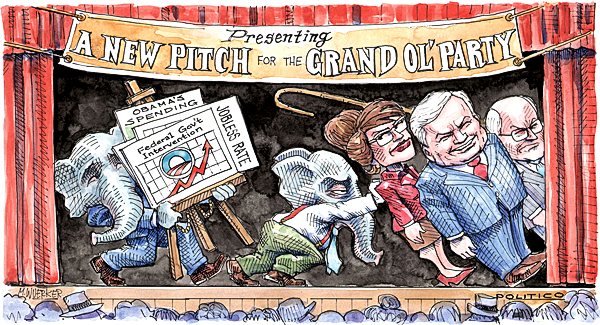 This artwork by Matt Wuerker relates to the Republican Party's efforts to reinvent itself.