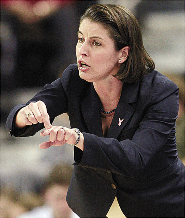 Duke coach Joanne McCallie directs her team during the first half against Wake Forest in an NCAA college women's basketball game in Winston-Salem, N.C., Wednesday, Feb. 25, 2009. (AP Photo/Chuck Burton)