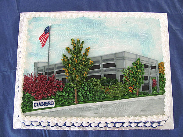 This cake depicts Cianbro Corp.'s Pittsfield offices. It was one of several cakes depicting scenes in the construction company's 60-year history. (Bangor Daily News/Christopher Cousins)