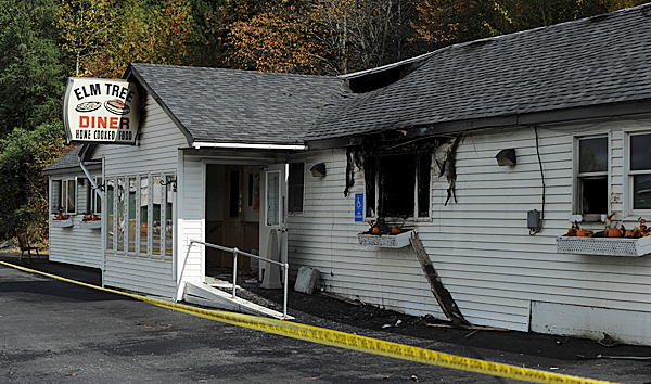 The Elm Tree Diner located at 146 Bangor Street in Houlton was gutted by fire on Sunday night, September 27, 2009. Maine State Fire Marshal Senior Fire Investigator Tim Lowell says the fire was in the ceiling area of the kitchen and appears to be electrical in nature.  The building was insured.  Image made on Monday, September 28, 2009. (Bangor Daily News/Kevin Bennett)