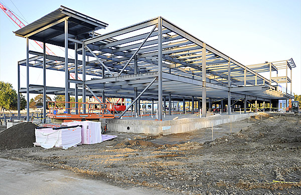 Interior steel structure of one wing of the new school buildings at Parkway South and Pendleton Street, Brewer, Monday, Sept. 28, 2009. Bangor Daily News/Michael C. York